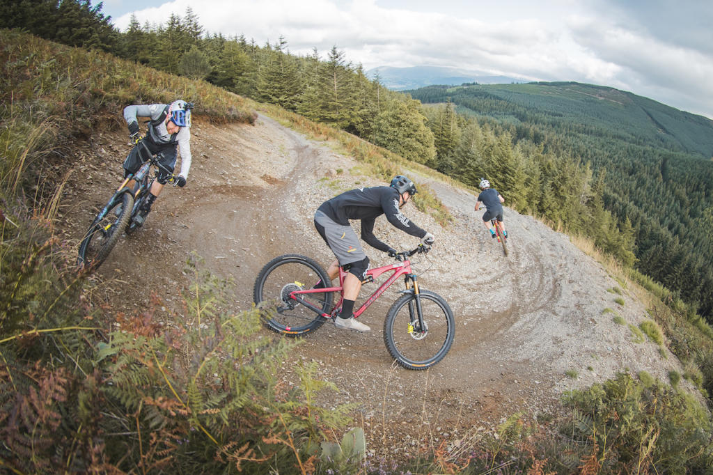Danny MacAskill, Duncan Shaw and Ali Clarkson riding MTBs at the trail center in Whinlatter, UK - Photo by Dave Mackison