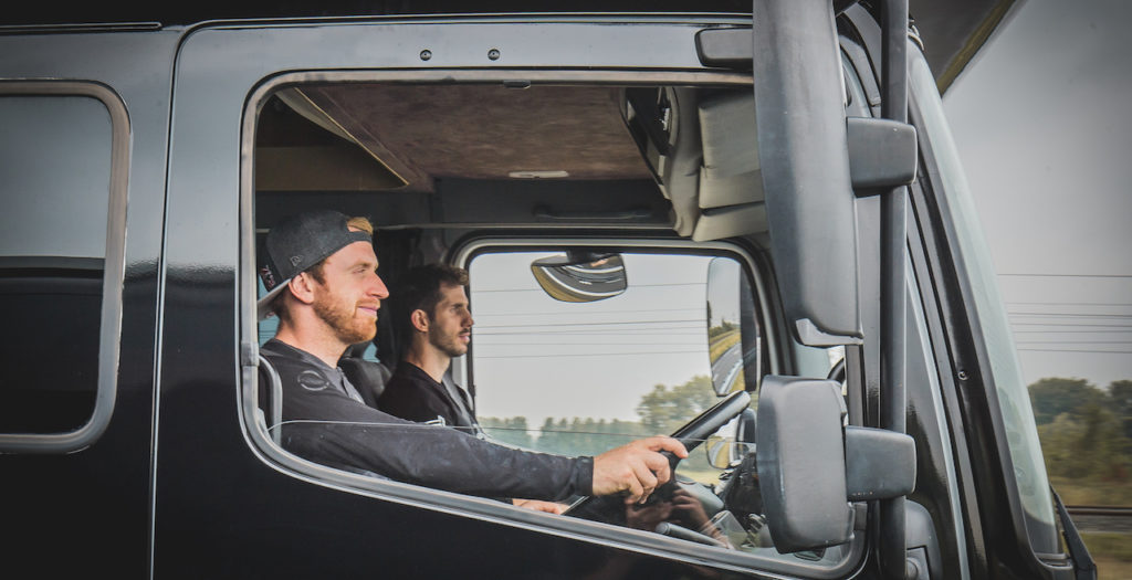 Danny MacAskill driving the Drop & Roll campervan aka´The Truck´ - Photo by Dave Mackison